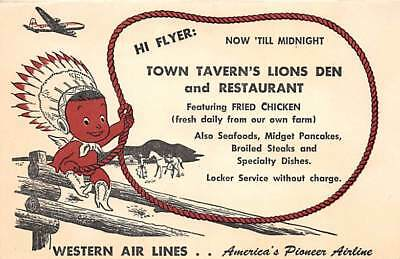 Western Air Lines - Ad card for Town Tavern's Lions Den & Restaurant ~ Fold out