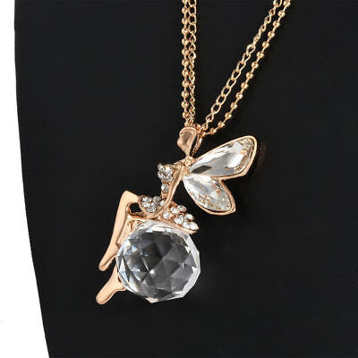 Hot Women Crystal Fairy Angel Wing Pendant Long Chain Sweater Necklace Gift