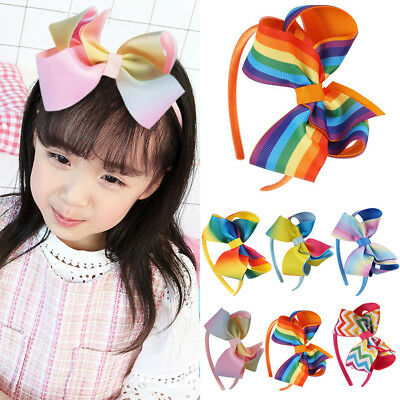 Cute New Girl Hair Bow Headband Rainbow Ribbons Kids Hair Accessories
