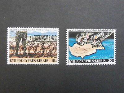1984  Cyprus  - Set of two MNH stamps -10 years Turkish Invasion - 15c & 20c