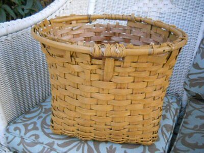 Antique Country Rustic Primitive Splint Oak Square Gathering Potato Basket