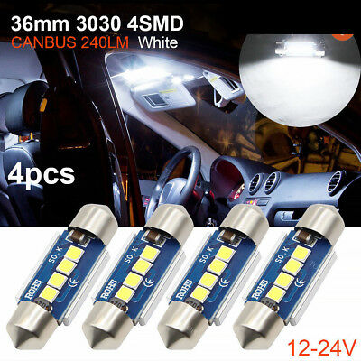 4x Error Free White LED License Plate Light Bulbs 3030 36MM 4SMD C5W Newly