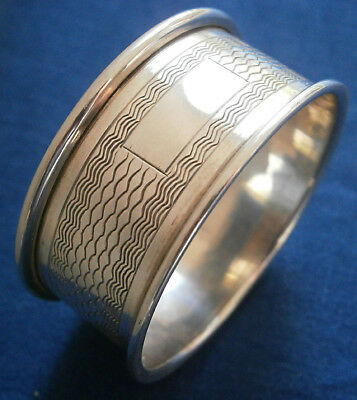Vintage Solid Silver Machined Napkin Ring - Blank Cartouche - Birmingham 1909