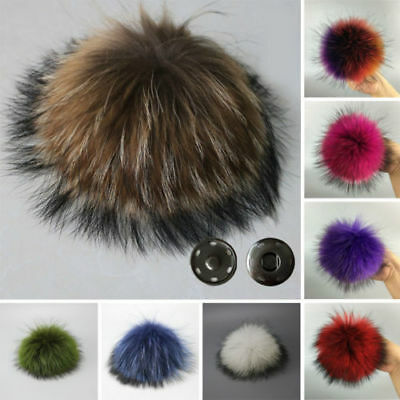 Women Large Faux Raccoon Fur Pom Pom Ball with Press Button for Knitting Hat YMK