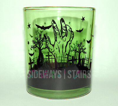 GRAVEYARD SCENE GREEN GLASS CANDLE HOLDER zombie hand halloween votive cemetery