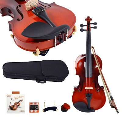 New 3/4 Maple Wood Acoustic Violin + Case + Bow + Rosin + Strings +Shoulder Rest
