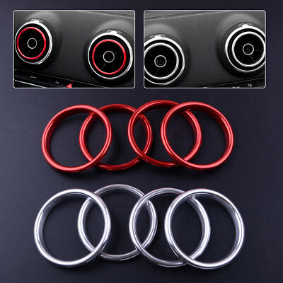For Audi A3 8V 12-2018 4x Interior Dashboard Air Vent Outlet Ring Cover Trim