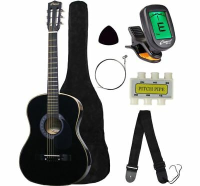 "Acoustic Guitar 38"" Inch With Digital Tuner Starter Package Kids Wood Frame"