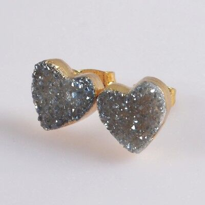 10mm Heart Natural Agate Titanium Druzy Stud Earrings Gold Plated T069996
