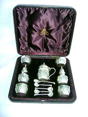Antique Hallmarked Silver 12 Piece Condiment Set James Deakin & Son In Pres Case