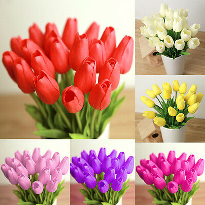 1/6/12pcs 32cm Artificial Flower Latex Real Touch Tulips Wedding Flowers Bouquet