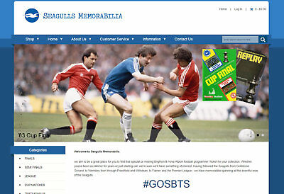 BRIGHTON & HOVE ALBION memorabilia Business with £1000 stock, web hosting & more