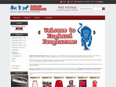 ENGLAND football memorabila business with £700+ STOCK, FREE Web Hosting & Extras