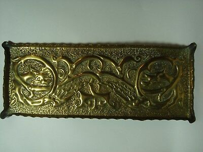 An Antique Arts & Crafts 'celtic' Brass Tray, 'dragons'.