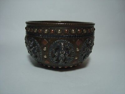 An Antique Indian Silver, Brass & Copper Ornate Small Bowl.