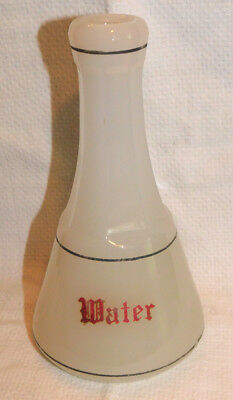 """Antique Moonstone Clambroth Barber """"Water"""" RED Script Bottle Apothecary"""
