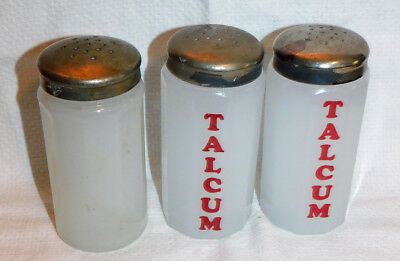 """THREE Antique Moonstone Clambroth Barber Jars with Covers, """"Talcum"""" in Red on 2"""