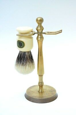 Caswell Massey Shaving Brush with Brass Holder Stand England Metal Vintage