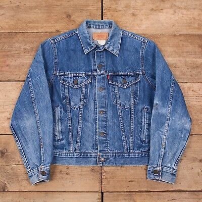 "Mens Vintage Levis Red Tab 80s Blue Denim Trucker Jacket Canada Small 36""  R10522 a38c87d2875f"