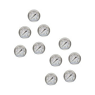 "10 Pack Liquid Filled Pressure Gauge 0-300 Psi, 2.5"" Face, 1/4"" Back Mount Wog"