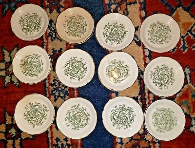 (12) Antique Butter Pats England Staffordshire Dinnerware Green W/ Gold NICE SET
