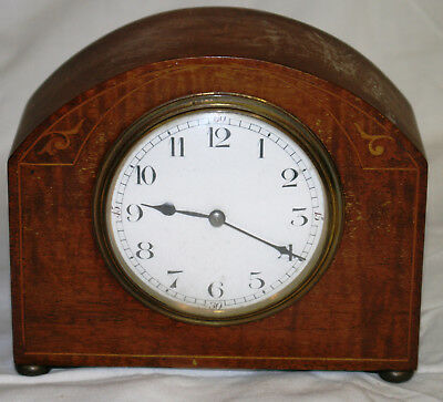 Antique French Inlaid Solid Mahogany Working Mantle Clock Platform Escapement