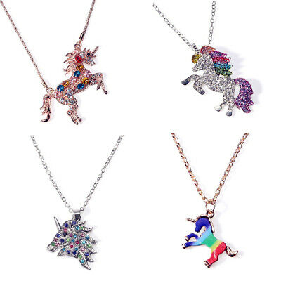 Magical Unicorn Charm Pendant Mythical Flying Horse Necklace Chain Jewelry Gift