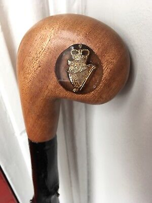 Ulster Defence Regiment Wooden Blackthorn Walking Stick with Crest Farthing Rare