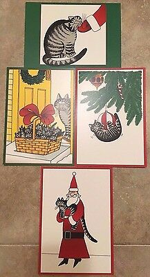 "N 4 KLIBAN KILBAN CAT CHRISTMAS HOLIDAY CARDS ENVELOPES ""Seasons Greetings"" RARE"