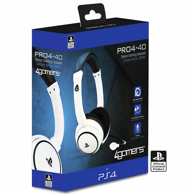 Official Sony PRO4-40 WHITE CHAT Stereo Gaming Headset With Mic PS4 NEW SEALED