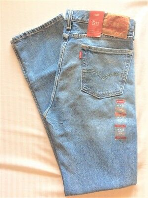 Levi's Men's NWT 511 2736 30X32 Toto Too Blue Slim Stretch Jeans Ripped Shredded