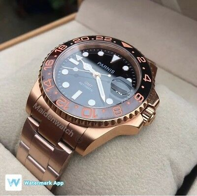 Parnis GMT Master Luxurious Rose Gold Edition 40mm Date Mens Watch Luxury Box .