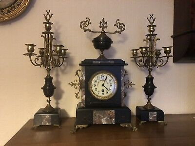 Black Marble French Clock Garniture With 2 Candlesticks