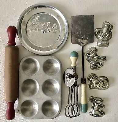 Vintage Antique Aluminum Wood Childs Play Toy Bake Cooking Set Rolling Pin Molds