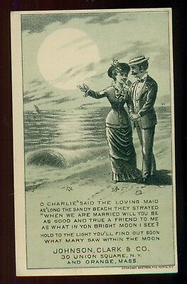1880 Johnson,Clark & Co. New Home Sewing Machine Hold to Light Trade Card