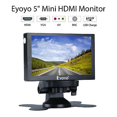 "Eyoyo 5"" HDMI VGA BNC AV input Monitor Home Security Car RearView Metal Housing"