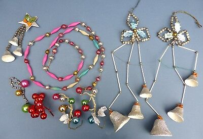 Vintage Christmas Glass Bead Garland Bell Cascades Bauble Sprig Decoration 1940s