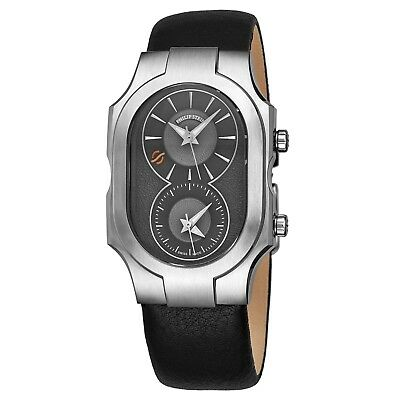 Philip Stein Men's Signature Grey Dial Leather Strap Quartz Watch 200SDGCB