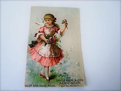 Victorian Trade Card Girl Pink Dress Dove Roses Use Lautz Bros. & Co. Acme Soap