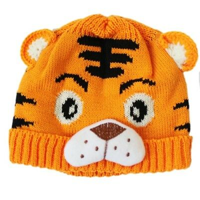 2X(1pc Baby Girls Boys Kids Toddlers Crochet Knit Cute Tiger Hat Cap Beanie K2D7