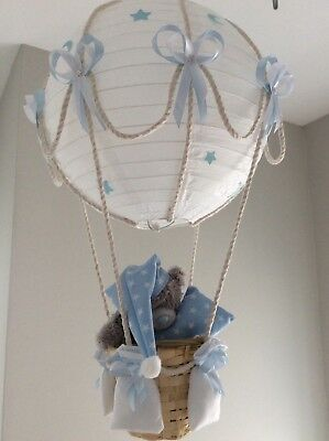 Starry night hot air balloon nursery lightshade blue made to order