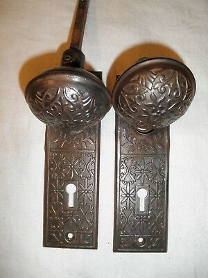 Antique Vintage Hardware Steel Door Knob Set With  Matching Escutcheon Plates