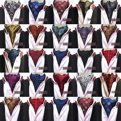 Men Silk Cravat Scarves Paisley Polka Dots Ascot Wedding Party Self-tied Ties