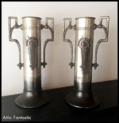"""ANTIQUE PAIR of PLATED CAST METAL ARTS & CRAFTS CYLINDER VASES 8.5"""" - C.1910 VGC"""