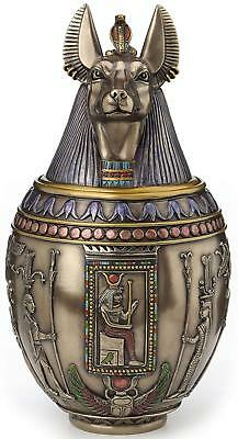 Anubis Egyptian Heiroglyphic Canopic Jar Memorial Urn Statue Sculpture Figurine