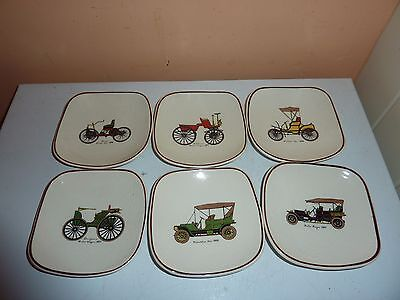 Set Of 6 Squarish 10.5 Cm Diam 1960's Dishes With 6 Different Vintage Car Images