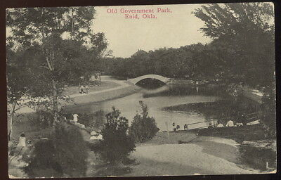 1916 Sepia Photo Post Card, Old Government Park, Enid, Ok.