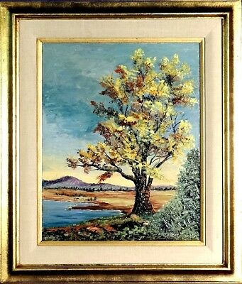 Rare ca.1965 Huge Tree by River w/Hill Impressionist Painting Oil/Canvas w/Frame