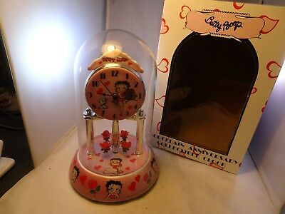 Betty Boop Porcelain Anniversary Collectible Tabletop Clock Roses and Hearts