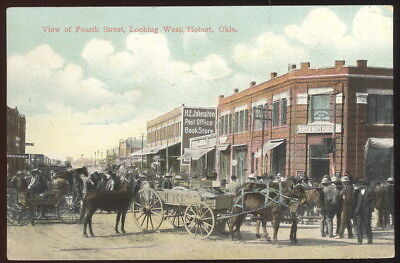 1912 Picture Pc, View Of Fourth St Looking West, Hobart, Ok. Wagons, Signage